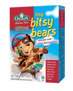 Itsy bitsy bears biscuits with choc flavoured chips, Orgran,